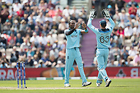 Jos Buttler (England) quick to congratulate Jofra Archer (England) on the wicket of Carlos Braithwaite (West Indies) during England vs West Indies, ICC World Cup Cricket at the Hampshire Bowl on 14th June 2019