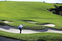 Scott Piercy (USA) plays his 2nd shot from a fairway bunker on the 6th hole at Pebble Beach Golf Links during Saturday's Round 3 of the 2017 AT&amp;T Pebble Beach Pro-Am held over 3 courses, Pebble Beach, Spyglass Hill and Monterey Penninsula Country Club, Monterey, California, USA. 11th February 2017.<br /> Picture: Eoin Clarke | Golffile<br /> <br /> <br /> All photos usage must carry mandatory copyright credit (&copy; Golffile | Eoin Clarke)