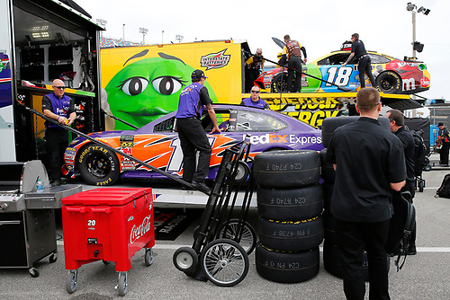 Monster Energy NASCAR Cup Series<br /> Daytona 500<br /> Daytona International Speedway, Daytona Beach, FL USA<br /> Friday 9 February 2018<br /> Denny Hamlin, Joe Gibbs Racing, FedEx Express Toyota Camry, Kyle Busch, Joe Gibbs Racing, M&amp;M's Toyota Camry<br /> World Copyright: Russell LaBounty<br /> LAT Images