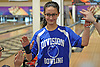 Kayla DeJesus of Levittown Division gets congratulated after a frame in a Nassau County girls bowling match against MacArthur at Levittown Lanes on Wednesday, Jan. 3, 2018. She bowled a 440 series with a high game of 170.