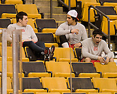 Garrett Noonan (BU - 13), Sahir Gill (BU - 28), Matt Nieto (BU - 17) - The Boston University Terriers defeated the Harvard University Crimson 3-1 in the opening round of the 2012 Beanpot on Monday, February 6, 2012, at TD Garden in Boston, Massachusetts.