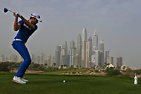 Kalle Samooja (FIN) on the 8th tee during Round 1 of the Omega Dubai Desert Classic, Emirates Golf Club, Dubai,  United Arab Emirates. 24/01/2019<br /> Picture: Golffile | Thos Caffrey<br /> <br /> <br /> All photo usage must carry mandatory copyright credit (&copy; Golffile | Thos Caffrey)