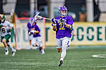 6 April 2019:  University at Albany Great Dane Midfielder Ashton Bradley, a Sophomore from Sayville, NY, in action against the University of Vermont Catamounts at Virtue Field in Burlington, Vermont. The Cats rallied to defeat the Danes 10-9 in America East divisional play. Mandatory Credit: Ed Wolfstein Photo *** RAW (NEF) Image File Available ***