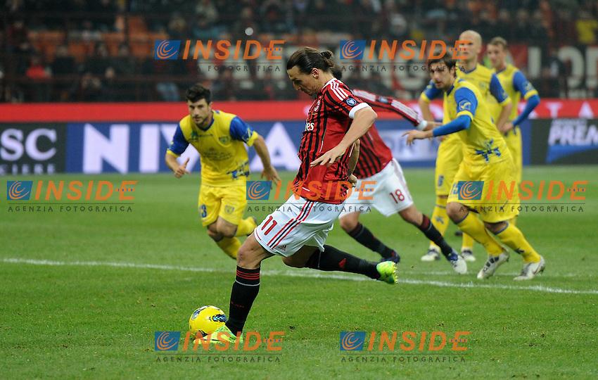 "Il gol di Zlatan IBRAHIMOVIC (Milan) goal celebration.Milano 27/11/2011 Stadio ""Giuseppe Meazza"".Serie A 2011/2012.Football Calcio Milan Vs Chievo Verona.Foto Insidefoto Alessandro Sabattini."