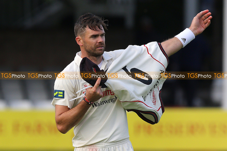James Anderson of Lancashire takes his jumper during Essex CCC vs Lancashire CCC, Day Two