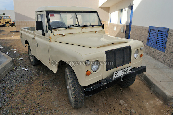 Spain, Canary Islands, Archipielago Chinijo, Isla Graciosa, Caleta del Sebo. Land Rover Santana Series III 109 6-cyl Truck Cab. --- No releases available. Automotive trademarks are the property of the trademark holder, authorization may be needed for some uses.