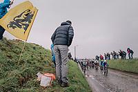 peloton over the tricky Holleweg cobbles<br /> <br /> 102nd Ronde van Vlaanderen 2018 (1.UWT)<br /> Antwerpen - Oudenaarde (BEL): 265km