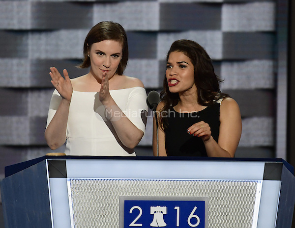 Actresses America Fererra, right, and Lena Dunham, left, make remarks during the second session of the 2016 Democratic National Convention at the Wells Fargo Center in Philadelphia, Pennsylvania on Tuesday, July 26, 2016.<br /> Credit: Ron Sachs / CNP/MediaPunch<br /> (RESTRICTION: NO New York or New Jersey Newspapers or newspapers within a 75 mile radius of New York City)