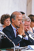 United States Senator Joseph Biden (Democrat of Delaware), Chairman, US Senate Judiciary Committee, makes his opening statement prior to hearing the testimony of Professor Anita Hill during the hearings to confirm Judge Clarence Thomas as Associate Justice of the US Supreme Court in the US Senate Caucus Room in Washington, DC on October 10, 1991.  Thomas was nominated for the position by US President George H.W. Bush on July 1, 1991 to replace retiring Justice Thurgood Marshall.<br /> Credit: Arnie Sachs / CNP
