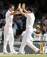 James Anderson of England celebrates after taking the wicket of Michael Clarke - England vs Australia - 1st day of the 5th Investec Ashes Test match at The Kia Oval, London - 21/08/13 - MANDATORY CREDIT: Rob Newell/TGSPHOTO - Self billing applies where appropriate - 0845 094 6026 - contact@tgsphoto.co.uk - NO UNPAID USE