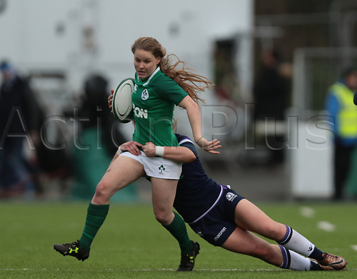 11th March 2018, Donnybrook Stadium, Dublin, Ireland; Womens Six Nations rugby, Ireland Women versus Scotland Women; Nicole Cronin (Ireland) is tackled by Lisa Martin (Captain Scotland)