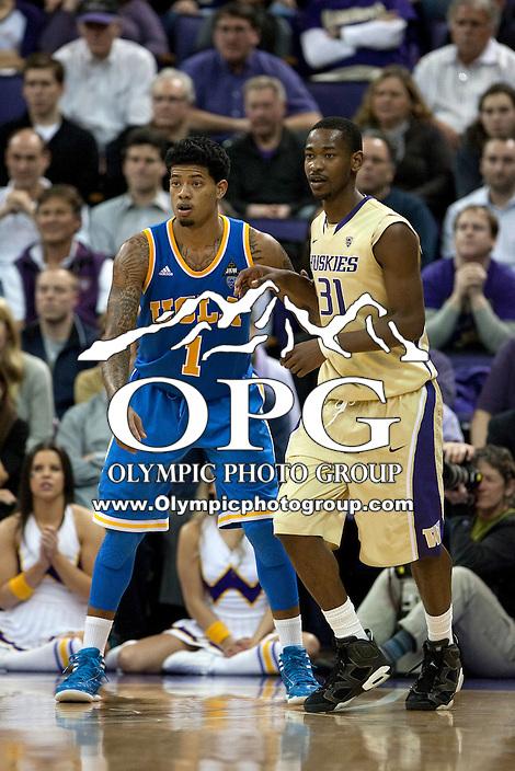 Feb 2, 2012:  UCLA's #1 Tyler Lamb and Washington's Terrance Ross.  Washington defeated UCLA 71-69 at Alaska Airlines Arena Seattle, Washington...