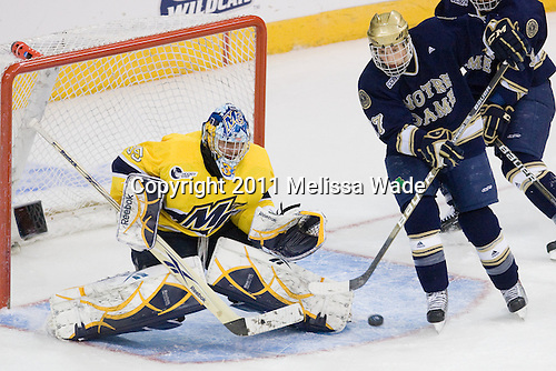 Joe Cannata (Merrimack - 35), Billy Maday (Notre Dame - 17) - The University of Notre Dame Fighting Irish defeated the Merrimack College Warriors 4-3 in overtime in their NCAA Northeast Regional Semi-Final on Saturday, March 26, 2011, at Verizon Wireless Arena in Manchester, New Hampshire.