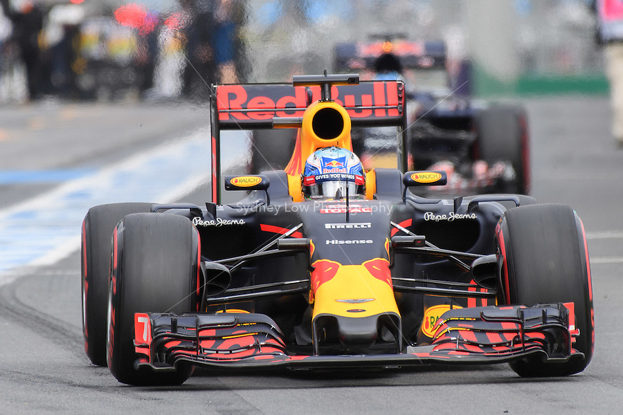 March 19, 2016: Daniel Ricciardo (AUS) #3 from the Red Bull Racing team leaving the pits for qualifying at the 2016 Australian Formula One Grand Prix at Albert Park, Melbourne, Australia. Photo Sydney Low