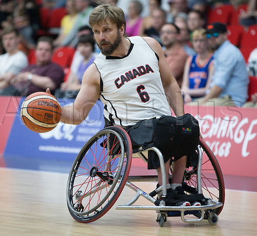 03.07.2016. Leicester Sports Arena, Leicester, England. Continental Clash Wheelchair Basketball, England versus Canada. Bo Hedges (CAN) during the match