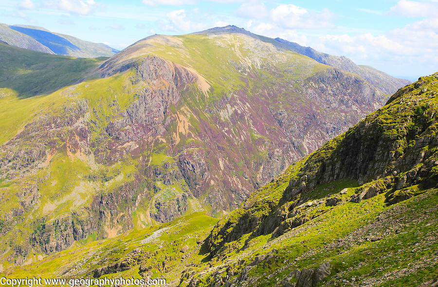 Looking down to Llanberis Pass from Mount Snowdon, Gwynedd, Snowdonia, north Wales, UK