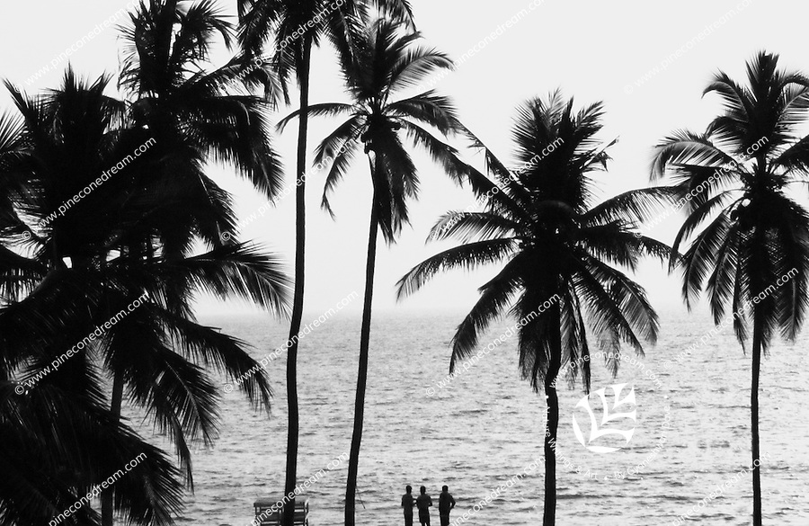 """Three human figure standing in front of the sea at Kerala silhouette black and white fine art stock image.<br /> <br /> View the gallery - """"India-Nature & Landscapes"""" for the color version of this image."""