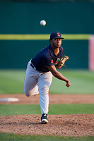 Lowell Spinners relief pitcher Victor Garcia (51) delivers a pitch during a game against the Connecticut Tigers on August 26, 2018 at Dodd Stadium in Norwich, Connecticut.  Connecticut defeated Lowell 11-3.  (Mike Janes/Four Seam Images)