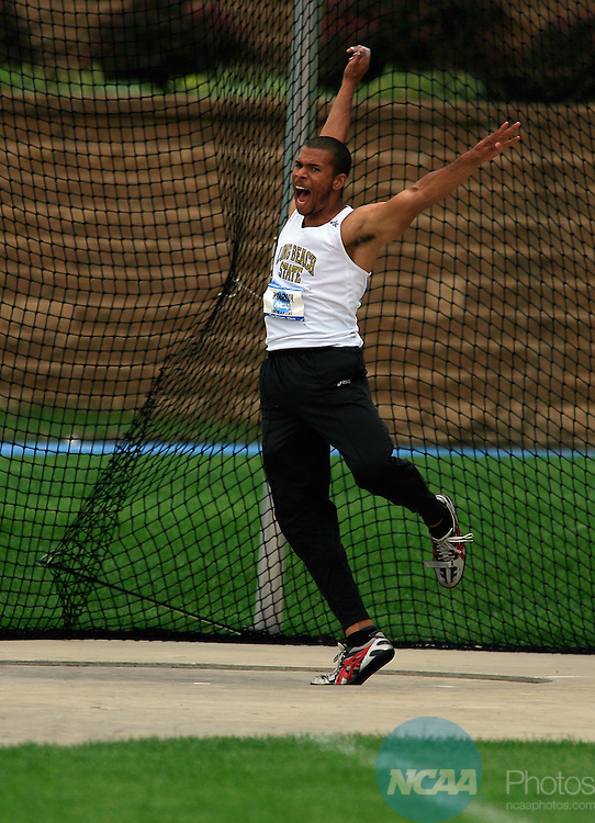 12 JUNE 2008: Decathlete Chris Richardson, from Long Beach State, lets go of a loud roar after hurling the discus Thursday at the NCAA Division 1 Men's and Women's Track & Field Championships in Des Moines, Iowa.  David Peterson/NCAA Photos