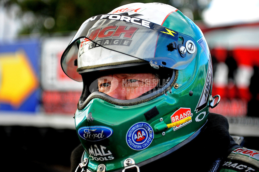 Jan 23, 2010; Chandler, AZ, USA; NHRA funny car driver John Force during testing at the National Time Trials at Firebird International Raceway. Mandatory Credit: Mark J. Rebilas-