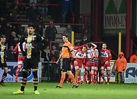 1/8 finale Croky Cup :<br /> KV KORTRIJK - R ANTWERP FC :<br /> juichende spelers van KV Kortrijk na de 3-0<br /> <br /> Foto VDB / Bart Vandenbroucke