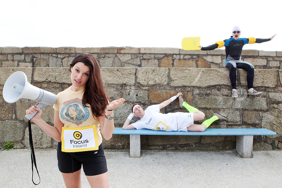NO REPRO FEE. 14/4/20111. Caroline Morahan and David McSavage dive in to urge people of all levels to register for Focus Ireland's Fundraising Triathlon . Caroline Morahan, David McSavage and Paddy from Focus got geared up today to encourage new and experienced triathletes to sign up and start training for this year's Focus Ireland Fundraising Triathlon. The event, which takes place at Dun Laoghaire pier over the August Bank Holiday Weekend, aims to raise over EUR100,000 in vital funds to help the charity continue its work to combat and prevent homelessness in Ireland. Registration is now open online at www.focusireland.ie. Picture James Horan/Collins Photos