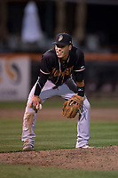 Modesto Nuts shortstop Bryson Brigman (8) during a California League game against the San Jose Giants at San Jose Municipal Stadium on May 15, 2018 in San Jose, California. Modesto defeated San Jose 7-5. (Zachary Lucy/Four Seam Images)