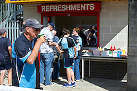 Wycombe Wanderers fans get refreshments before the Sky Bet League 2 match between Crawley Town and Wycombe Wanderers at Broadfield Stadium, Crawley, England on 6 August 2016. Photo by Alan  Stanford / PRiME Media Images.