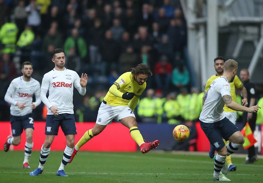Blackburn Rovers' Bradley Dack has a shot at goal<br /> <br /> Photographer Rachel Holborn/CameraSport<br /> <br /> The EFL Sky Bet Championship - Preston North End v Blackburn Rovers - Saturday 24th November 2018 - Deepdale Stadium - Preston<br /> <br /> World Copyright © 2018 CameraSport. All rights reserved. 43 Linden Ave. Countesthorpe. Leicester. England. LE8 5PG - Tel: +44 (0) 116 277 4147 - admin@camerasport.com - www.camerasport.com