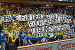 10.03.2018, RASTA Dome 2.0, VECHTA, GER, Beko BBL ProA, RASTA Vechta vs Phoenix Hagen, im Bild<br /> <br /> Der Fan Block aus Hagen im RASTA DOME <br /> <br /> mit dem BANNER: Danke f&uuml;r den Empfang - Deich geh&ouml;rt unser Lieblingslied<br /> <br /> <br /> <br /> Foto &copy; nordphoto / Kokenge
