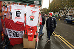 Unofficial club merchandise and t-shirts on display in the streets outside the City Ground, Nottingham before Nottingham Forest take on visitors Ipswich Town in an Npower Championship match. Forest won the match by two goals to nil in front of 22,935 spectators.