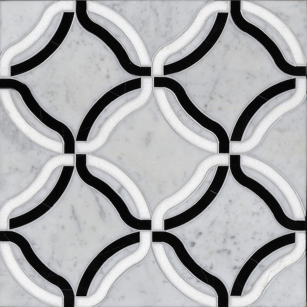 Kelly, a stone water jet mosaic, shown in Carrara, Thassos, Nero Marquina, is part of the Ann Sacks Beau Monde collection sold exclusively at www.annsacks.com