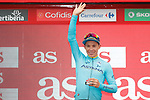 Miguel Angel Lopez Moreno (COL) Astana Pro Team leads the young riders class on the podium at the end of Stage 15 of the La Vuelta 2018, running 178.2km from Ribera de Arriba to Lagos de Covadonga, Spain. 9th September 2018.               Picture: Unipublic/Photogomezsport | Cyclefile<br /> <br /> <br /> All photos usage must carry mandatory copyright credit (&copy; Cyclefile | Unipublic/Photogomezsport)