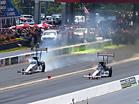Jun 17, 2018; Bristol, TN, USA; NHRA top fuel driver Steve Torrence (right) against Antron Brown during the Thunder Valley Nationals at Bristol Dragway. Mandatory Credit: Mark J. Rebilas-USA TODAY Sports