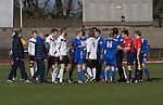 Edinburgh City v Spartans, 11/04/2015. Commonwealth Stadium, Scottish Lowland League. Players from both teams shaking hands at the Commonwealth Stadium at Meadowbank at the conclusion of the Scottish Lowland League match between Edinburgh City (white shirts) and city rivals Spartans, which was won by the hosts by 2-0. Edinburgh City were the 2014-15 league champions and progressed to a play-off to decide whether there would be a club promoted to the Scottish League for the first time in its history. The Commonwealth Stadium hosted Scottish League matches between 1974-95 when Meadowbank Thistle played there. Photo by Colin McPherson.