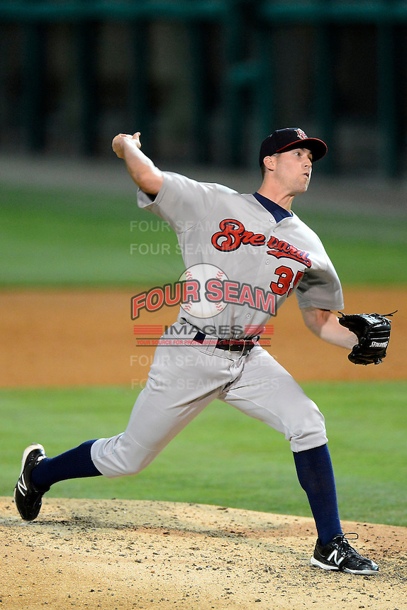 Brevard County Manatees pitcher Kevin Shackelford #35 during a game against the Lakeland Flying Tigers on April 10, 2013 at Joker Marchant Stadium in Lakeland, Florida.  Brevard County defeated Lakeland 7-6.  (Mike Janes/Four Seam Images)