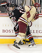 Kevin Roy (NU - 15), Pat Mullane (BC - 11) - The Boston College Eagles defeated the visiting Northeastern University Huskies 3-0 after a banner-raising ceremony for BC's 2012 national championship on Saturday, October 20, 2012, at Kelley Rink in Conte Forum in Chestnut Hill, Massachusetts.