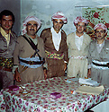Iraq 1971. At the 8th congress of KDP in Nawpurdan, from left to right, Hassan Shatavi, Mustafa Barzani, Nezamedin Kaya from Turkey, Mohammed Saleh Jomeh and Idris Barzani<br />