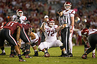Hawgs Illustrated/BEN GOFF <br /> Frank Ragnow (72), Arkansas center, and quarterback Cole Kelley, line up against South Carolina in the fourth quarter Saturday, Oct. 7, 2017, during the game at Williams-Brice Stadium in Columbia, S.C.