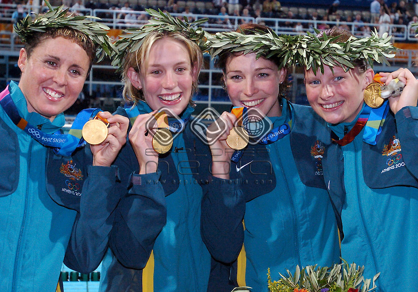 Petria Thomas, Jodie Henry, Giaan Rooney and Leisel Jones win the 4x100  Medly Relay.<br /> Swimming - 4x100 Medly Relay<br /> Summer Olympics - Athens, Greece 2004<br /> Day 8 ,21st August 2004.<br /> &copy; Sport the library/Courtney Harris