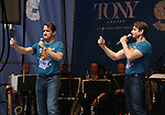 James Moye and Andy Karl performing at United presents 'Stars in the Alley' in  Shubert Alley on May 27, 2015 in New York City.