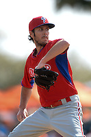 Philadelphia Phillies pitcher Michael Stutes (40) during a spring training game against the Baltimore Orioles on March 7, 2014 at Ed Smith Stadium in Sarasota, Florida.  Baltimore defeated Philadelphia 15-4.  (Mike Janes/Four Seam Images)
