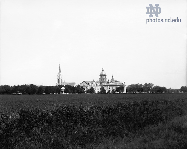 GGPP 1/09:  View of campus, including the Observatory, Basilica of the Sacred Heart, Institute of Technology (Crowley Hall), Main Building, and Science Hall (LaFortune Hall), c1890s.<br /> Image from the University of Notre Dame Archives.