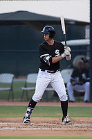 AZL White Sox first baseman Sam Abbott (25) at bat during an Arizona League game against the AZL Mariners at Camelback Ranch on July 8, 2018 in Glendale, Arizona. The AZL White Sox defeated the AZL Mariners 8-5. (Zachary Lucy/Four Seam Images)