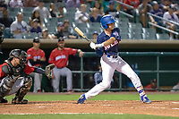 Logan Landon (6) of the Rancho Cucamonga Quakes at bat against the North Division during the 2018 California League All-Star Game at The Hangar on June 19, 2018 in Lancaster, California. The North All-Stars defeated the South All-Stars 8-1.  (Donn Parris/Four Seam Images)