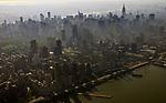 Aerial views of Midtown New York City at sunrise