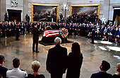 Vice President Mike Pence and his wife Karen stand to honor Sen. John McCain, R-Ariz., during his memorial service in the Capitol Rotunda where he will lie in state at the U.S. Capitol, in Washington, DC on Friday, August 31, 2018. McCain, an Arizona Republican, presidential candidate, and war hero, died August 25th at the age of 81. He is the 31st person to lie in state at the Capitol in 166 years. Photo Ken Cedeno/UPI