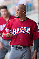 Cedric Hunter (21) of the Lehigh Valley Iron Pigs during the game against the Charlotte Knights at BB&T BallPark on June 3, 2016 in Charlotte, North Carolina.  The Iron Pigs defeated the Knights 6-4.  (Brian Westerholt/Four Seam Images)