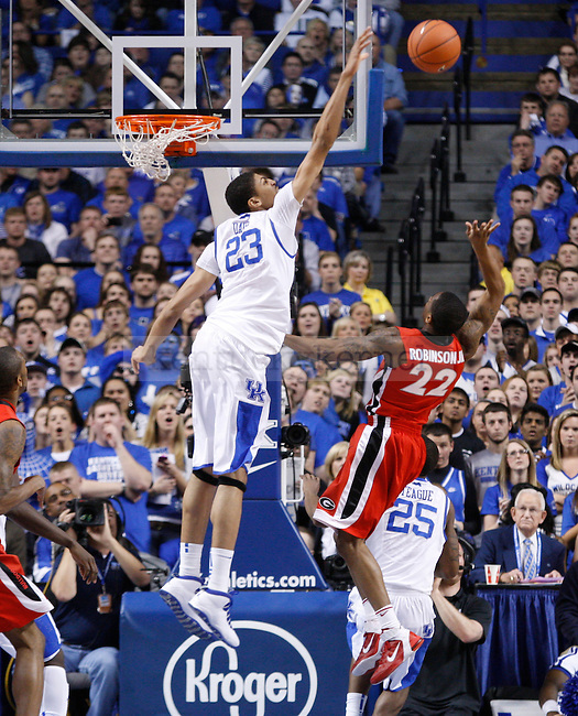UK's Anthony Davis Blocks a shot against Georgia at Rupp Arena on Friday, March 2, 2012. Photo by Scott Hannigan | Staff