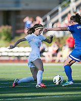 In a National Women's Soccer League Elite (NWSL) match, the Boston Breakers defeated the FC Kansas City, 1-0, at Dilboy Stadium on August 10, 2013.  FC Kansas City midfielder/forward Erika Tymrak (15).
